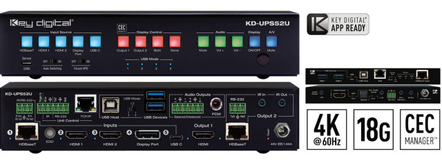 Wieloformatowy przełącznik prezentacyjny 4K/18G, HDBaseT, HDMI, KD-UPS52U