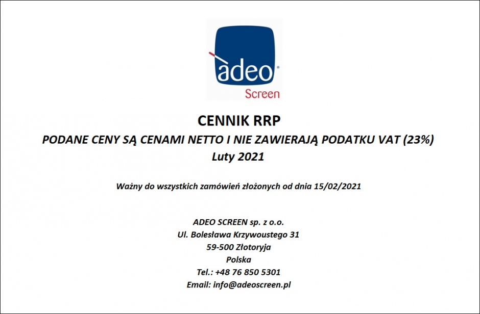 Adeo Screen - Nowy Cennik RRP 02-2021