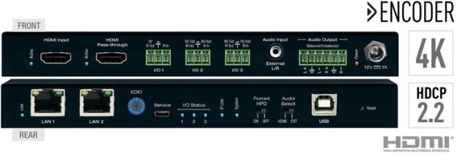 Enkoder HDMI over IP 4K ze switchem LAN oraz separacją audio KD-IP922ENC