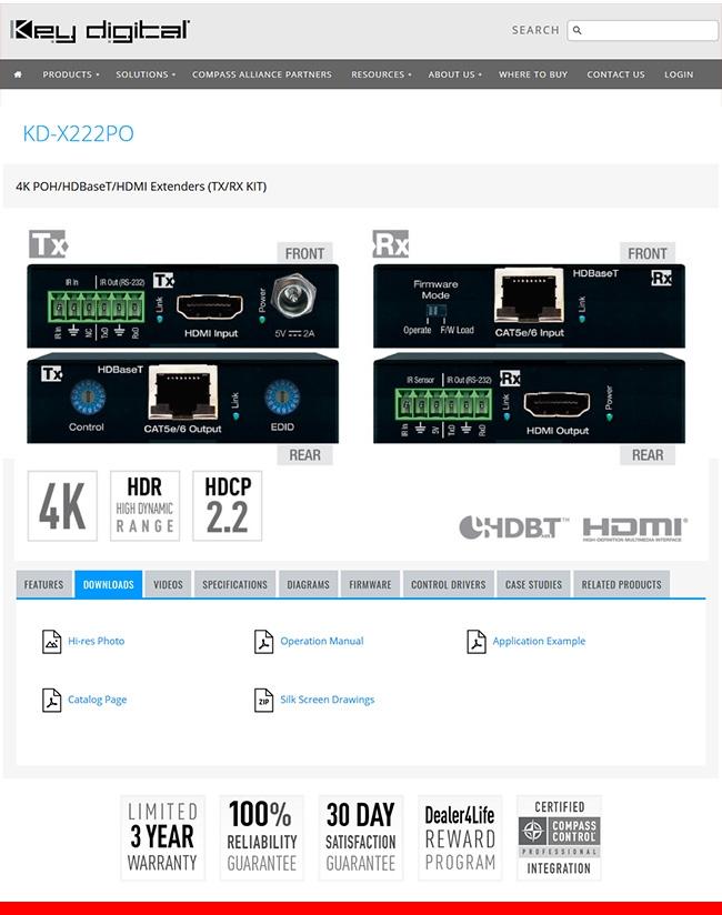 KEY DIGITAL: NAJLEPIEJ SPRZEDAJĄCY SIĘ EKSTENDER HDMI / HDBASET - X222PO