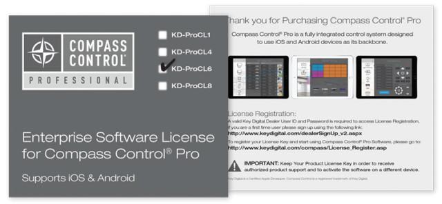 Licencja oprogramowania Compass Control dla systemu iOS lub Android KD-ProCL6
