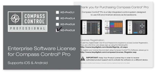 Licencja oprogramowania Compass Control dla systemu iOS lub Android KD-ProCL8