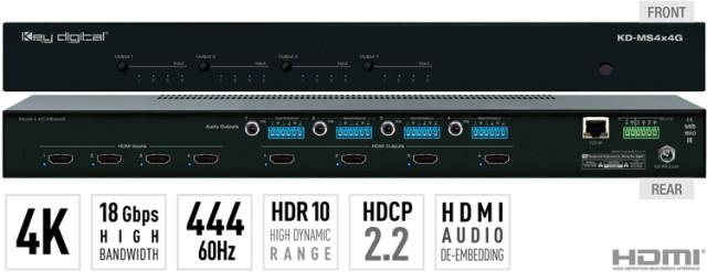 Matryca HDMI 4K/18G z niezależnym przełączaniem audio KD-MS4x4G