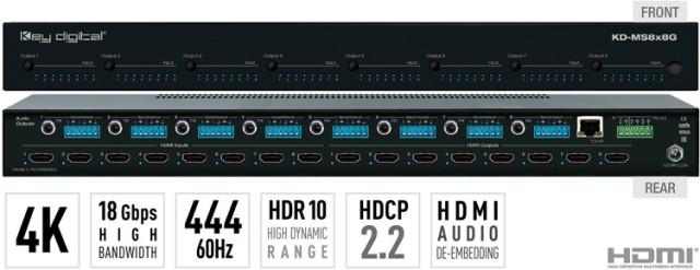 Matryca HDMI 4K/18G z niezależnym przełączaniem audio KD-MS8x8G