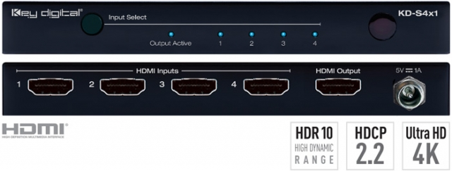 Switch HDMI 4K HDCP 2.2. HDR10, KD-S4x1