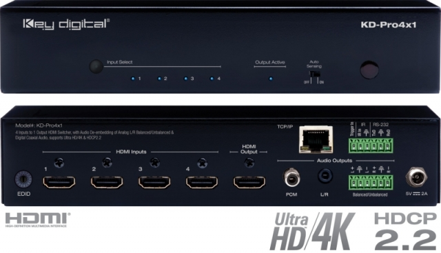 Switch HDMI 4K HDCP 2.2. HDR, sep audio KD-Pro4x1