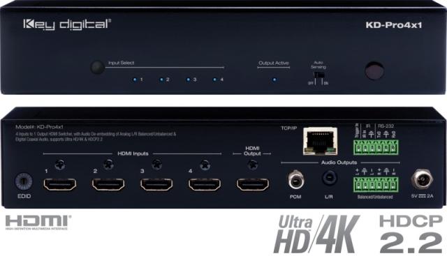 Switch HDMI 4K HDCP 2.2. HDR, sep audio KD-Pro4x1