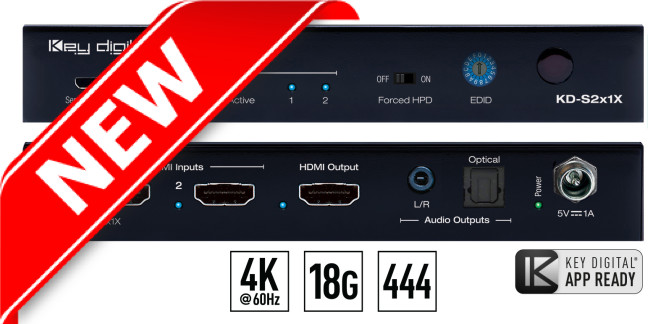Switch HDMI 4K HDCP KD-S2x1X