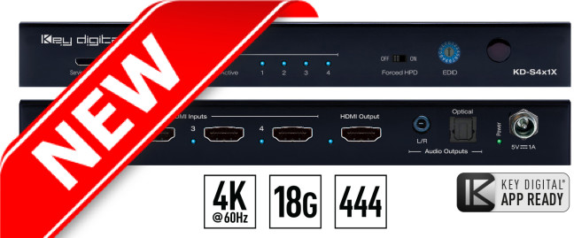 Switch HDMI 4K HDCP KD-S4x1X