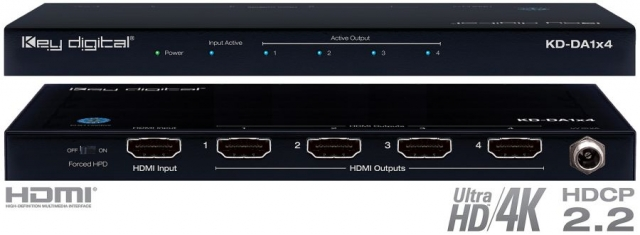 Spliter HDMI 4K, HDCP 2.2, HDR, Low Profile KD-DA1x4