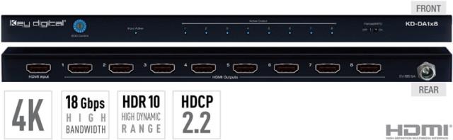 Spliter HDMI 4K KD-DA1x8