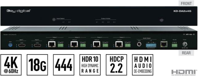 Matryca/Skaler HDMI 4K KD-DA2x4G