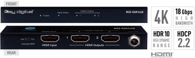 Spliter HDMI 4K, HDCP 2.2, HDR, Low Profile KD-DA1x2