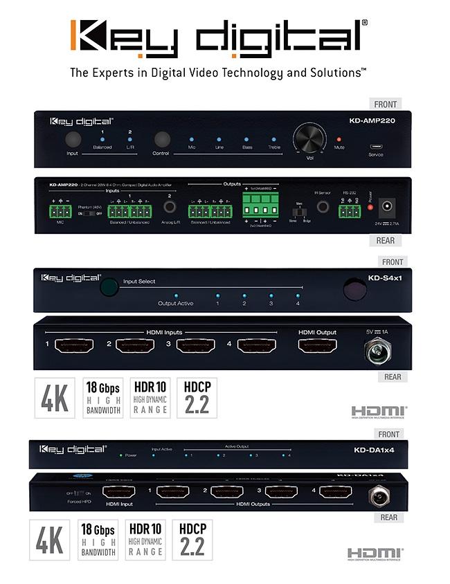 Key Digital : Wzmacniacz audio, switche i splittery UHD/4K 18Gpbs SLIM