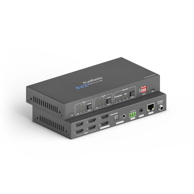 Przełącznik matrycowy HDMI 4x2 4K 18Gbps ze skalerem i de-embedderem audio - PT-MA-HD42UHD