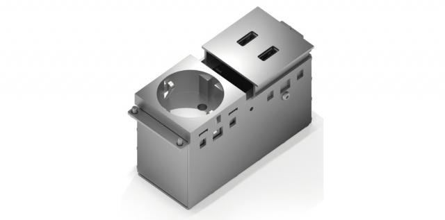 Gniazdo zasilające + 2 x USB