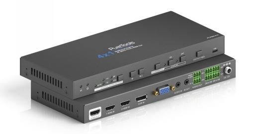 Wieloformatowy przełącznik prezentacyjny 4x1 ze skalerem PT-PSW-41H