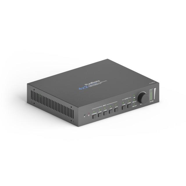 Wieloformatowy przełącznik HDBaseT 4x2 4K ze skalerem - PT-PMS-42