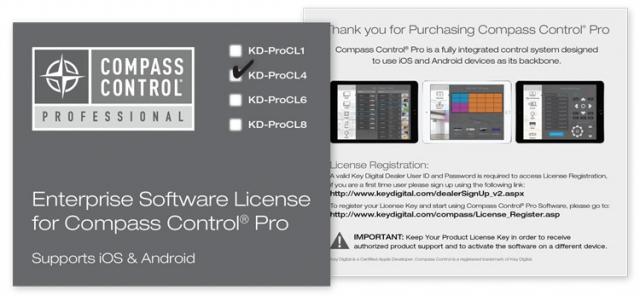 Licencja oprogramowania Compass Control dla systemu iOS lub Android KD-ProCL4